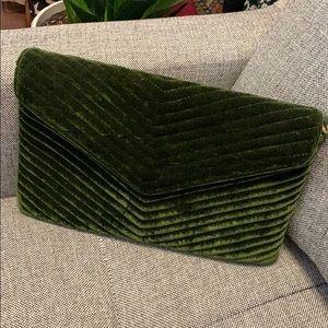 Velvet green Lulus clutch